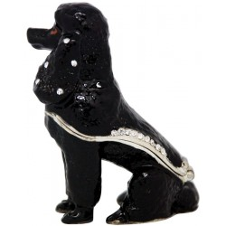 Poodle-Black Trinket Box