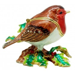 Xmas Robin on Holly Trinket...