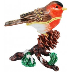 Robin on Pinecone Trinket Box
