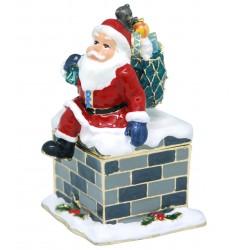 Santa Down Chimney Trinket Box