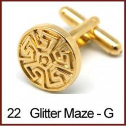 Glitter Maze - Gold Cufflinks