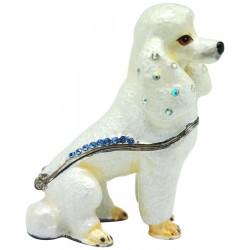 Poodle-White Trinket Box