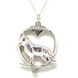 German Shepherd Pendant-Silver